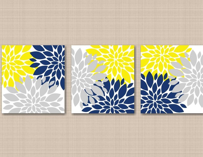 Yellow Navy Blue Gray Floral Wall Art Flowers Burst Bedroom Wall