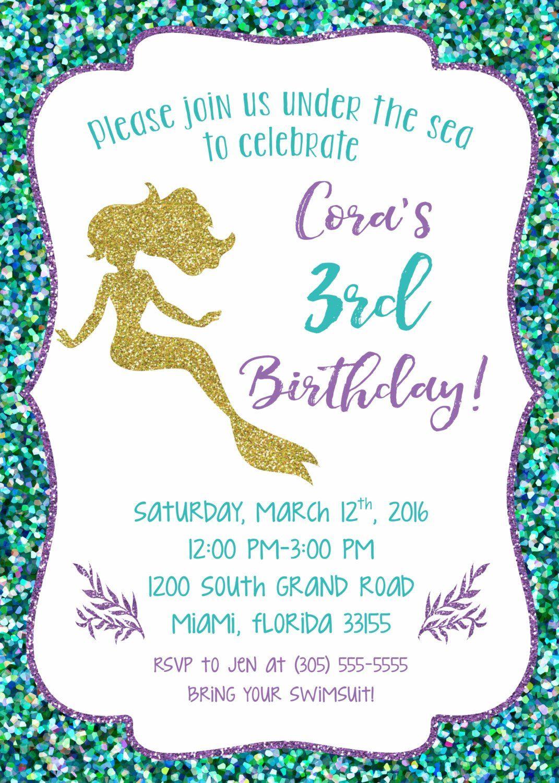 Christmas Mermaid Birthday Invitations Gallery Invitation Templates