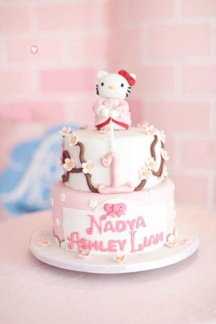 Hello Kitty Sakura Birthday Party Ideas Hello kitty cake Kitty