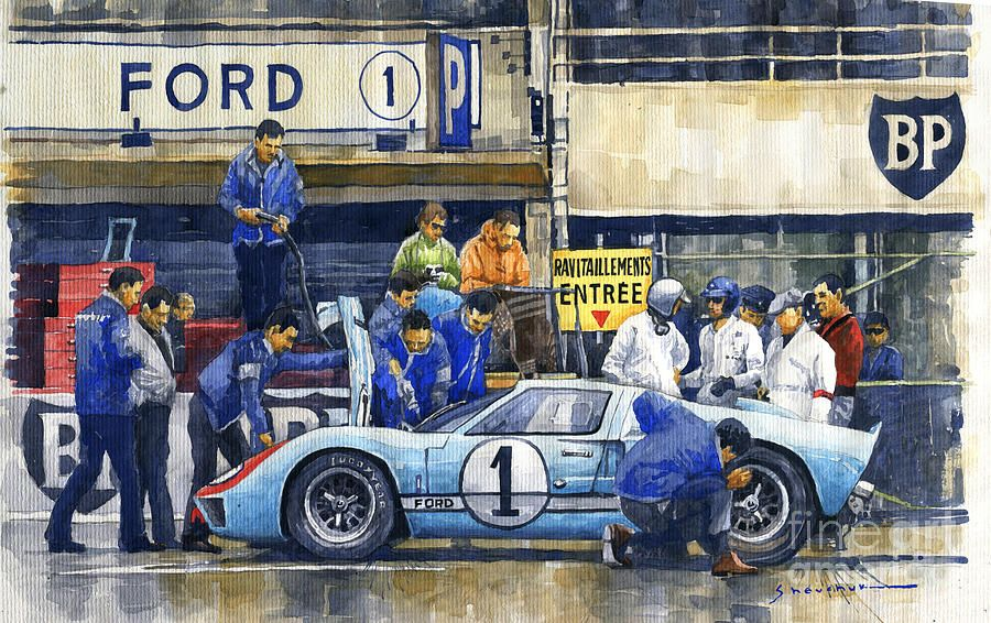 1966 Le Mans 24 Pit Stop Ford Gt40 Mkii Ken Miles Denny Hulme By