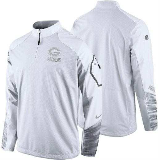 Nike Green Bay Packers White Platinum Pullover Performance Jacket  packers   nfl  football a1e11b525