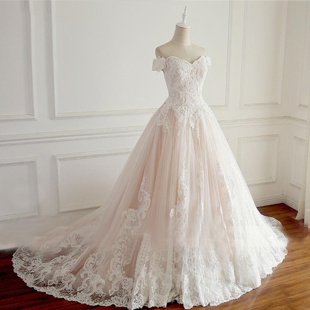Off shoulder short sleeve lace a line wedding bridal dresses