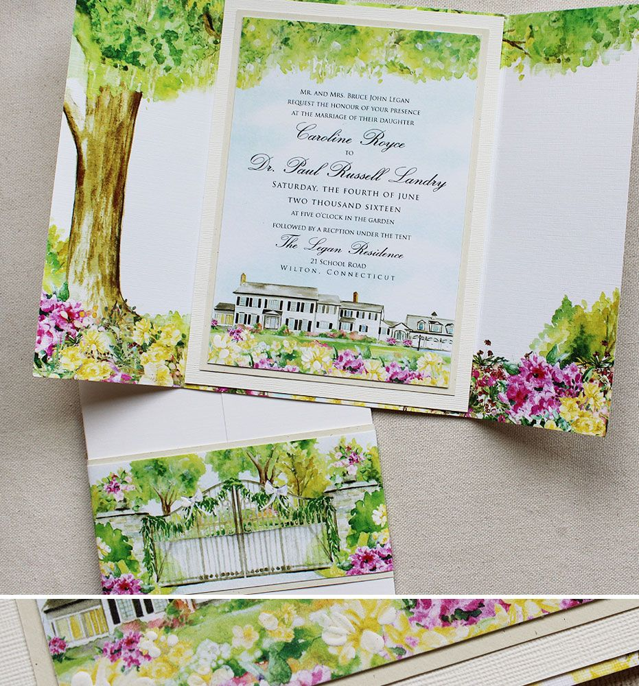 wedding stickers for invitations%0A Caroline L   Watercolor Tree and Venue Wedding Invitations