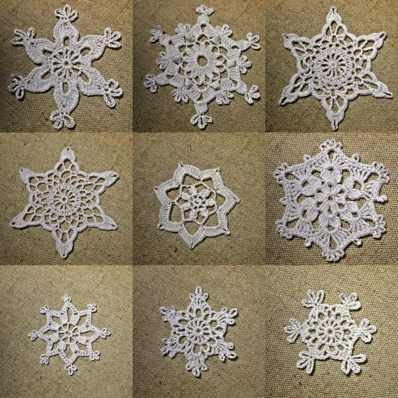 Set of 9 crochet snowflakes; Create your own collection of chrismas ...