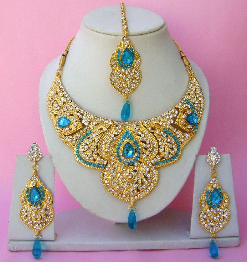 Semi Bridal Artificial Jewellery Necklace Set with Tika