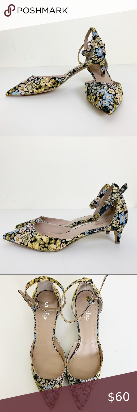 Charles David Floral Kadie Kitten Heel Size 9m In 2020 Heels Kitten Heels Shoes Women Heels