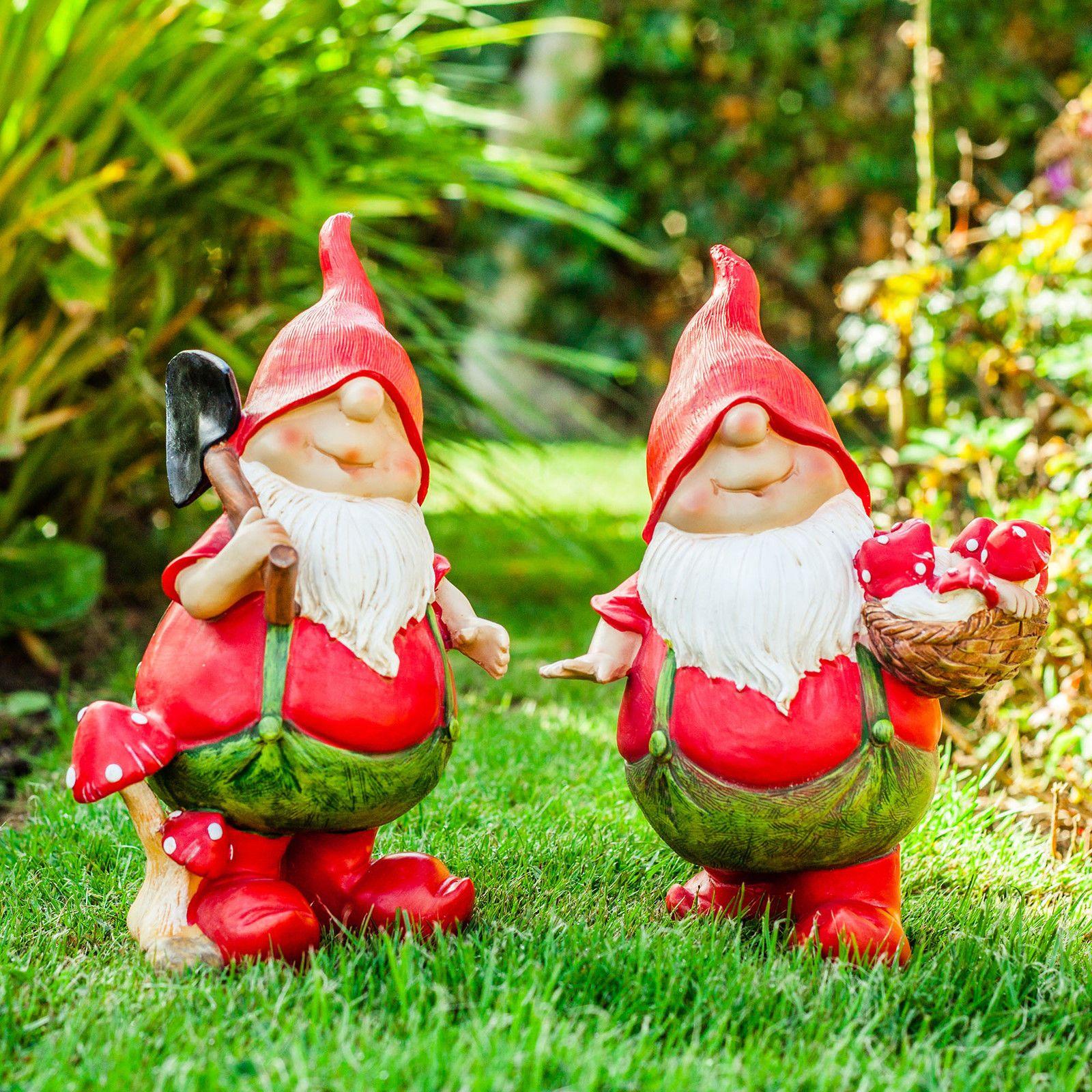 Garden Gnomes Max & Mason the Pair of Red Mushroom Picking