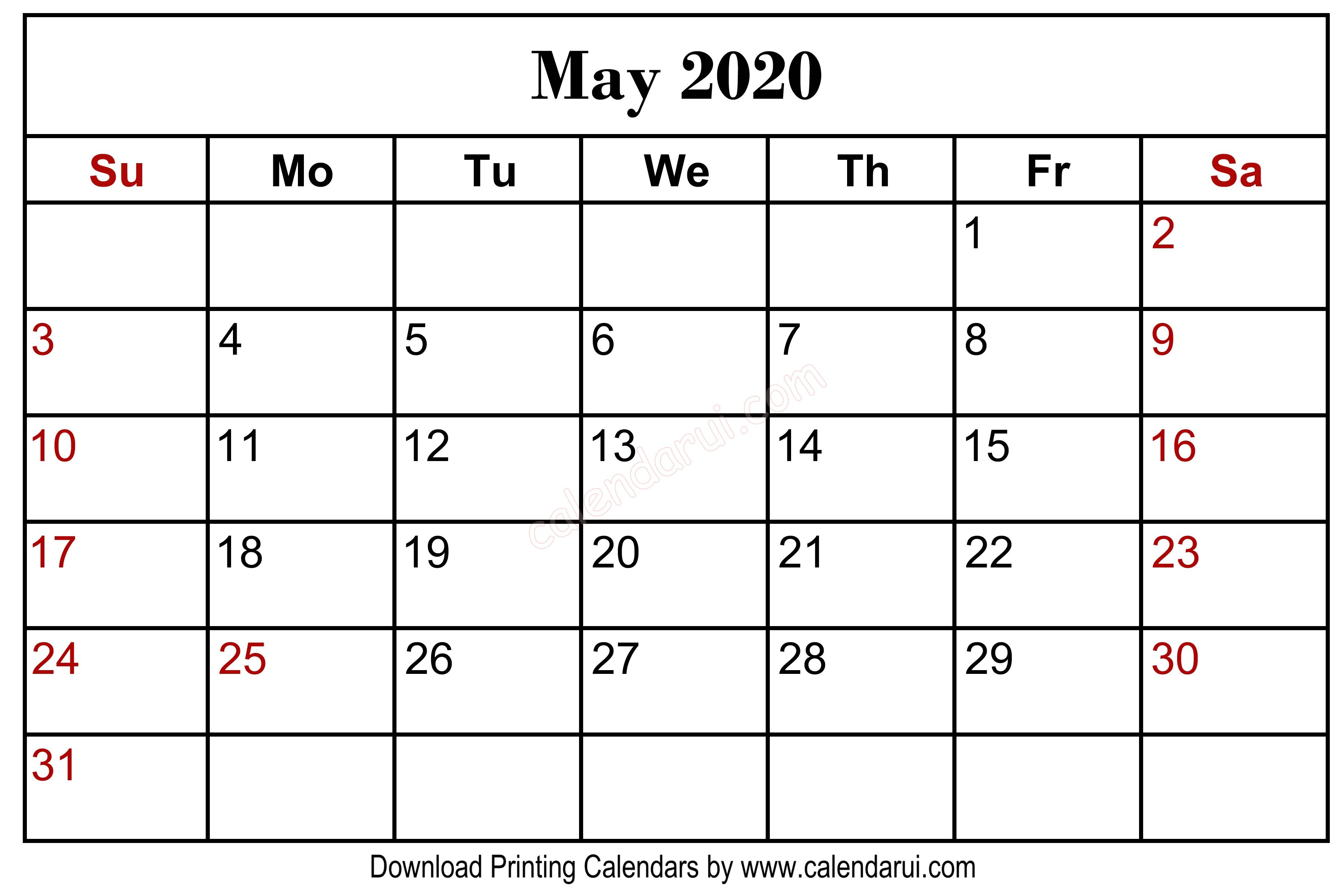 May Blank Calendar Printable Free Download Centre