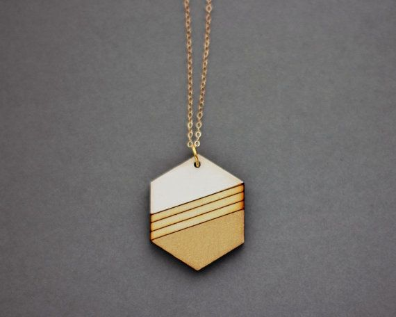 Wooden Gold Dipped Striped Hexagon Necklace White by FawnAndRose