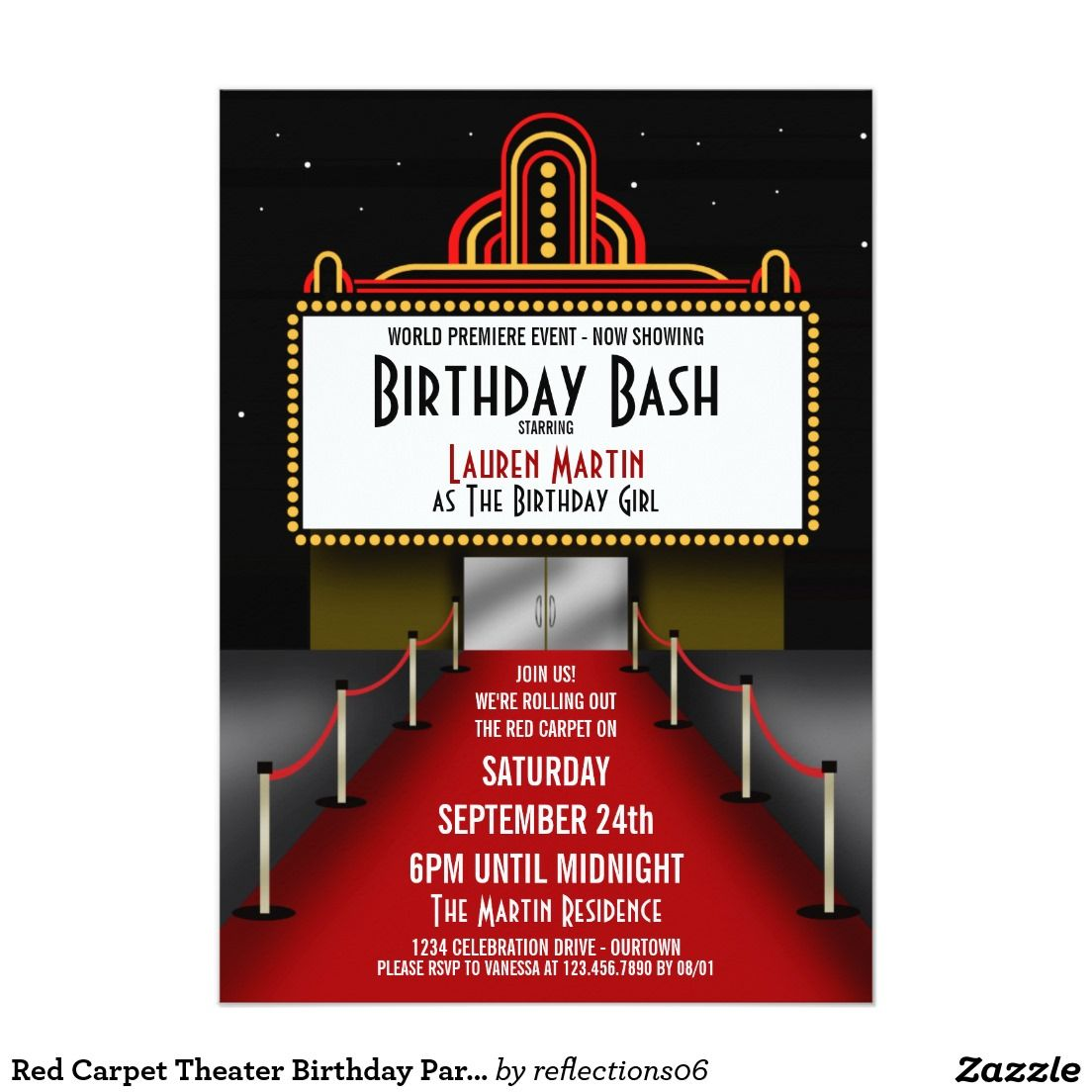 Red Carpet Theater Birthday Party Invitation | Party invitations ...