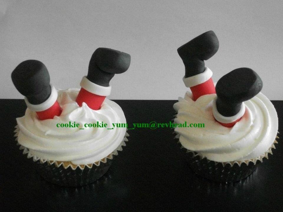 12 Edible 3d CHRISTMAS SANTA LEGS Cake Cupcake Decoration