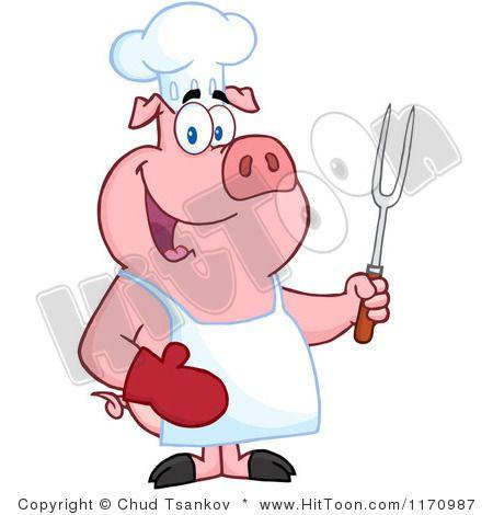 Cartoon Pig | Chef Pig Clipart #1170987: Bbq Chef Pig Holding a ...