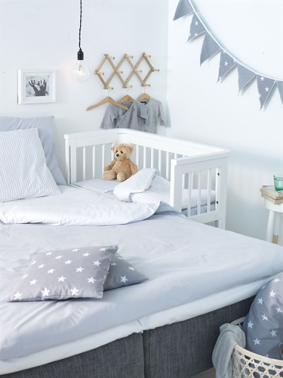 White or Pine Baby Co Sleeper Cot Side by Side with MattressSheet