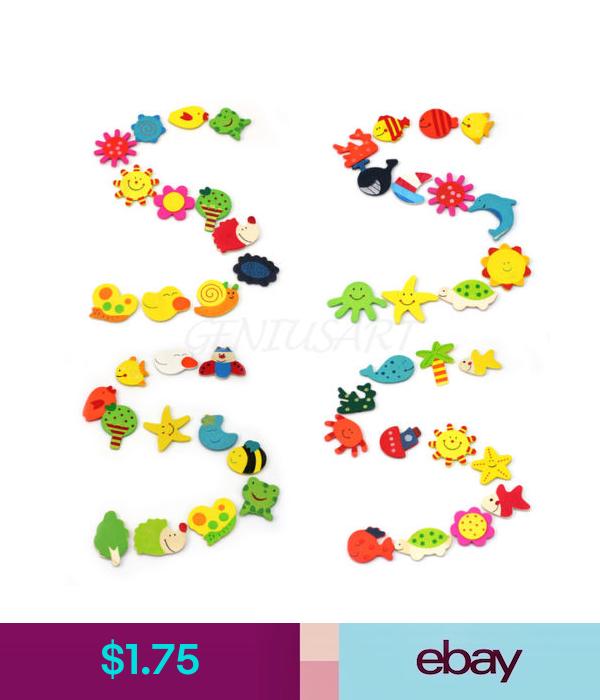 24Pcs Cartoon Animal Wooden Kitchen Fridge Magnet Baby Kid Educational Toy Gift