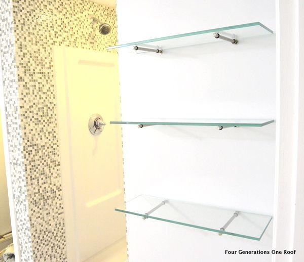 how to hang glass shelves using bingo brackets shelving. Black Bedroom Furniture Sets. Home Design Ideas