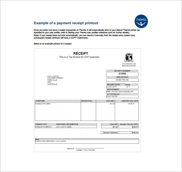 Example Receipt , Receipt Template Doc for Word Documents in - examples of tax invoices