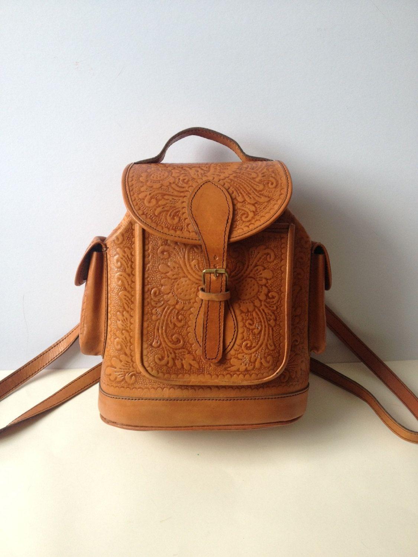 Vintage Tan Leather Rucksack/ Leather Backpack/ Leather Rucksack ...