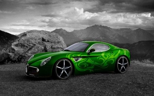 green alfa romeo 8c selective coloring | colored hd wallpapers