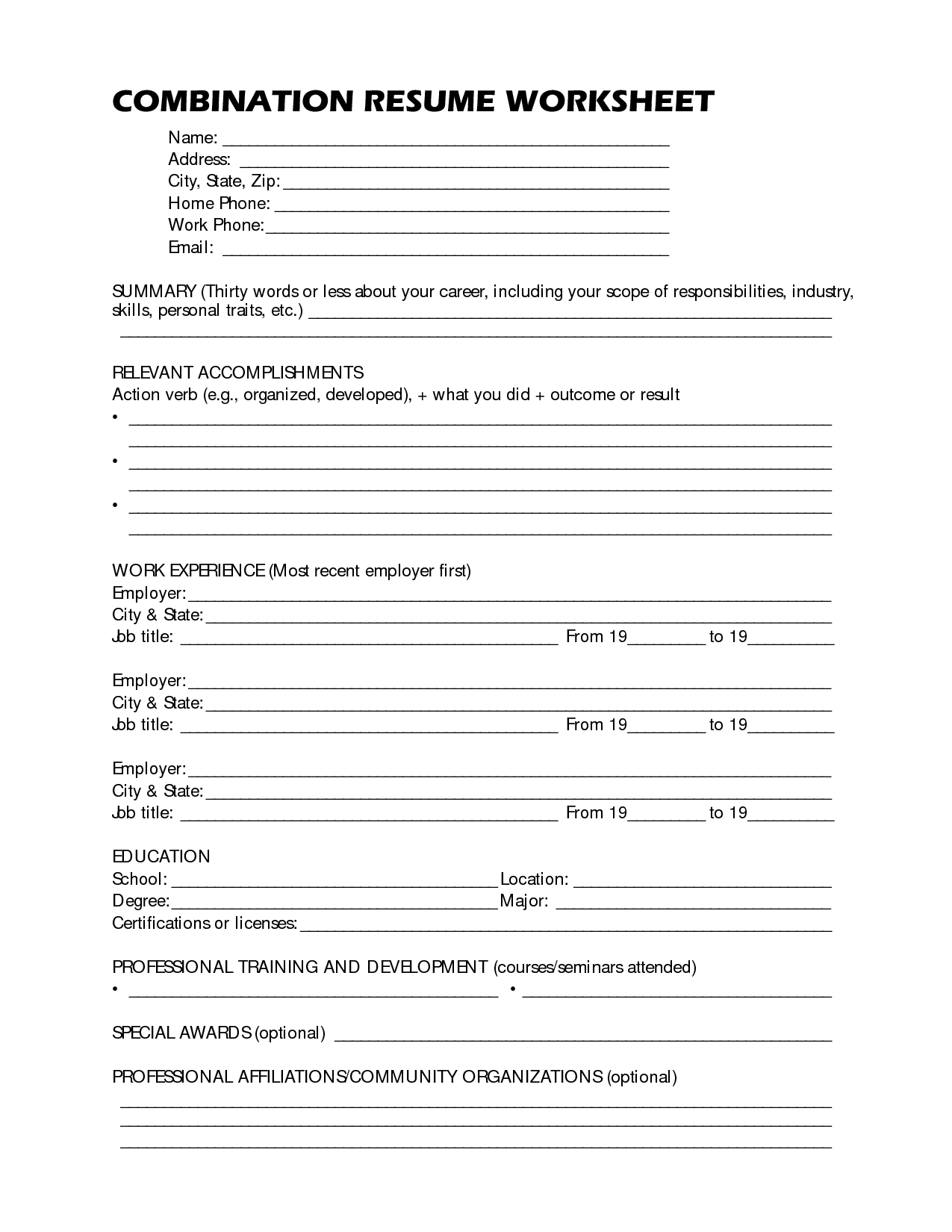 Resume Format Worksheet High School Printable And