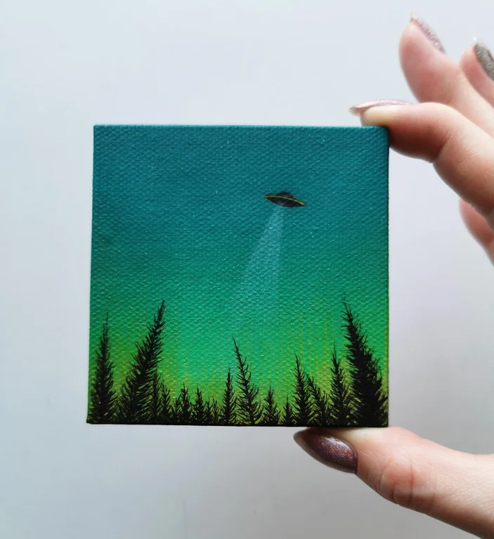 UFO over a forest, a tiny 3 inch painting I made t