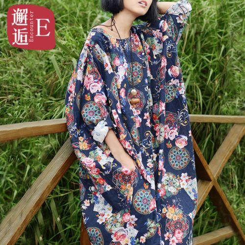 T186-47-Plus-Summer-Pastoral-Printed-Cotton-Linen-Womens-Long-Dress-Gown-Caftan