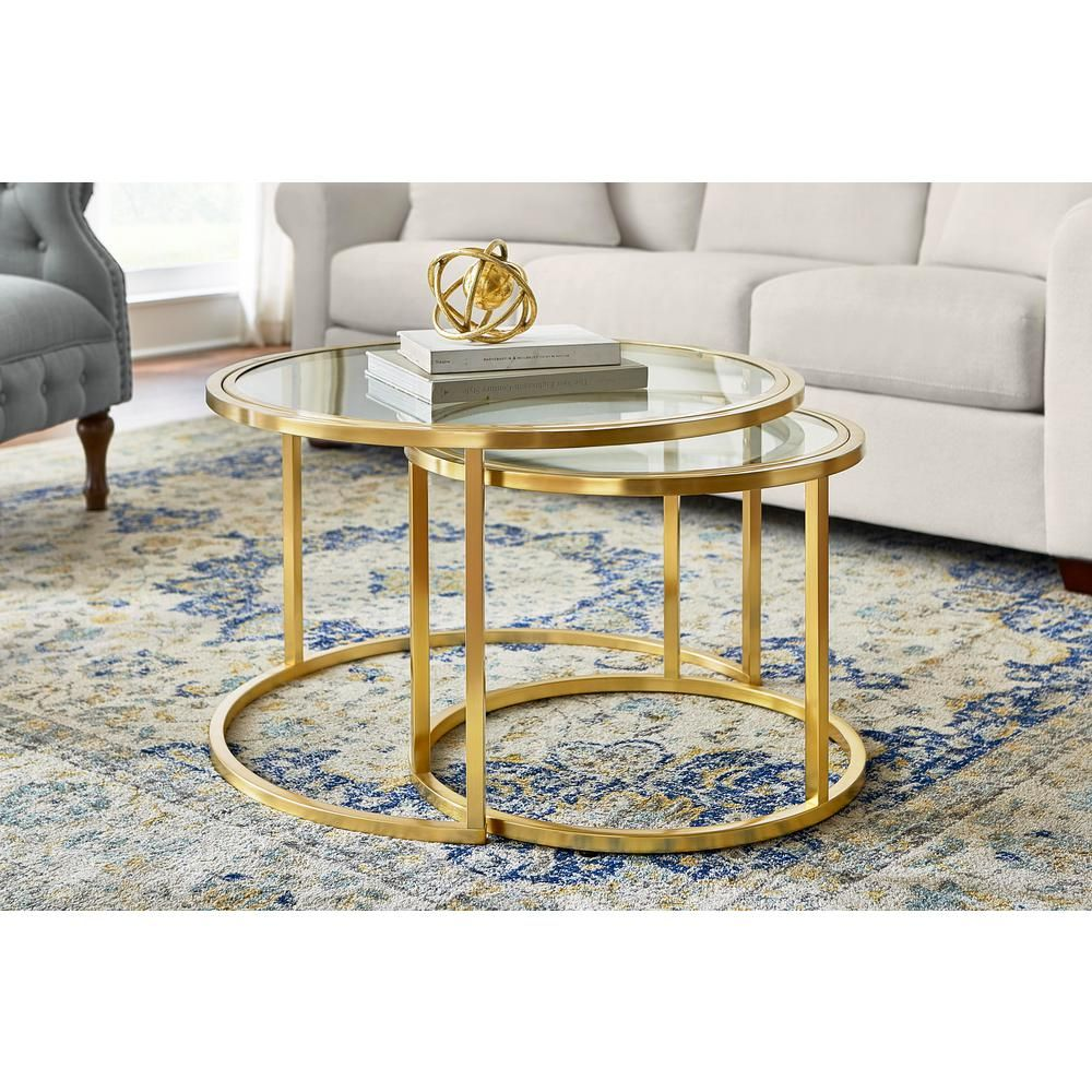 Home Decorators Collection Cheval 2 Piece 30 In Gold Glass Medium Round Glass Coffee Table Set With Nesting Tables Dc19 6641 The Home Depot Coffee Table Round Glass Coffee Table Glass Coffee Table Decor