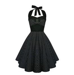Rockabilly Polka Dot Dress Black Pin Up Dress Gothic Vintage Inspired Dress
