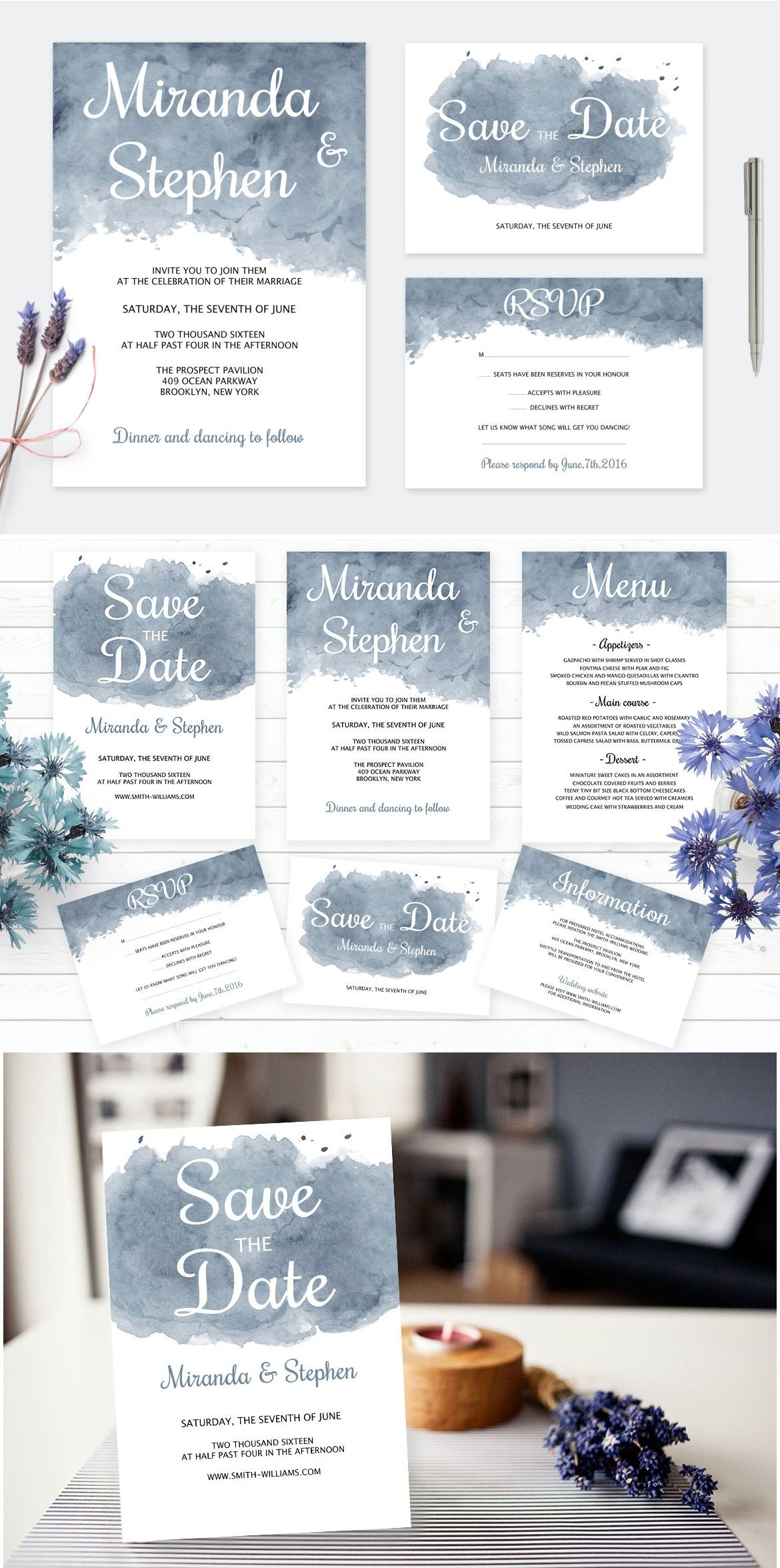 Watercolor Wedding Invitation Template PSD Pack | Card & Invite ...