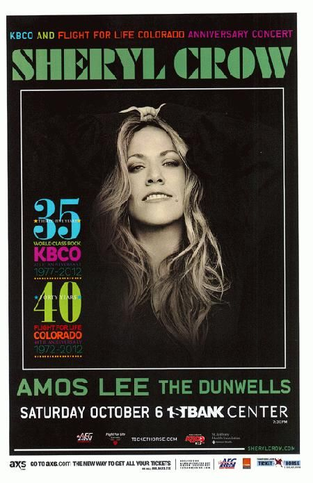 Concert poster for Sheryl Crow and Amos Lee at The First Bank Center in Broomfield, CO in 2012. 11 x 17 inches on card stock.