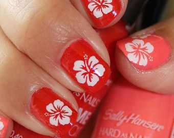 36 White Hibiscus Blossoms Hbw Kawaii Tropical Waterslide Transfers Decals Tropical Nail Art With Images Hibiscus Nail Art Tropical Nails Tropical Nail Art