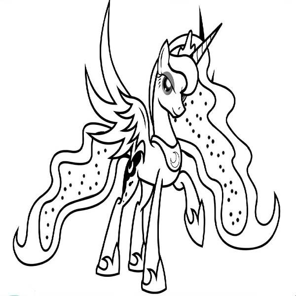 My Little Pony Coloring Pages Princess Luna Buku Mewarnai Warna
