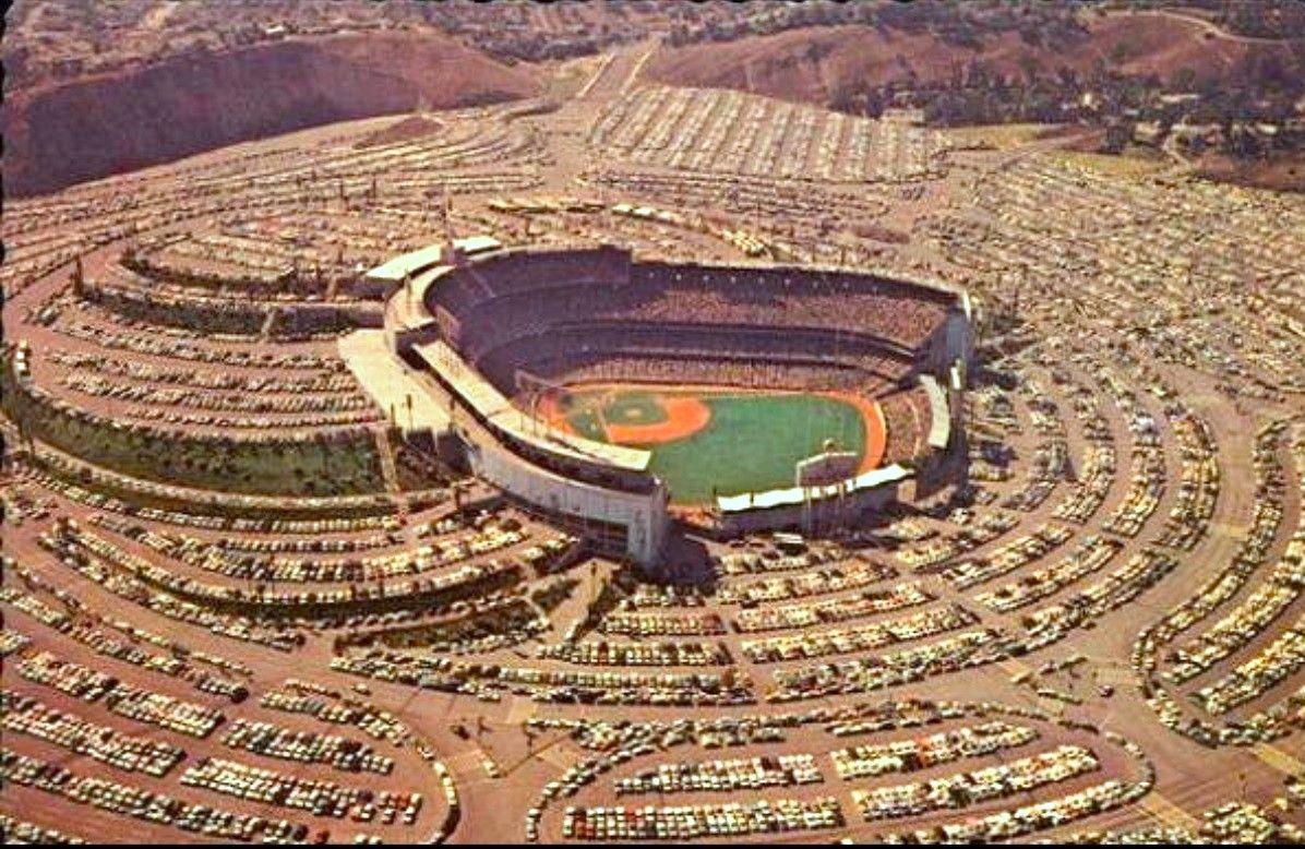 Aerial view of Dodger Stadium, Los Angeles, 1962 Dodger