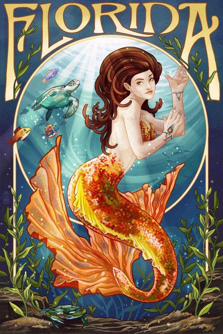 Florida mermaid illustration