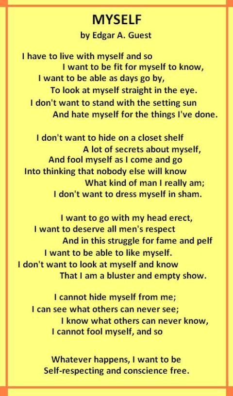 Poems About me Myself And i Poem Myself Edgar a
