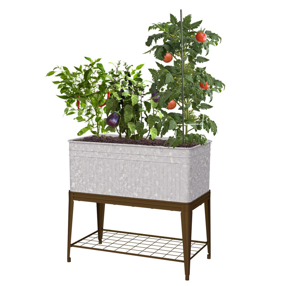 Vintage Metal Stand Up Raised Planter with Stand83479