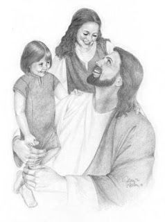nice drawing art of jesus christ with kids coloring page
