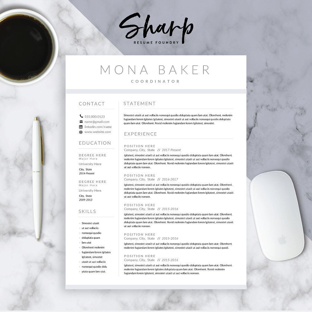 Modern Resume Template for Word. A clean and eyecatching