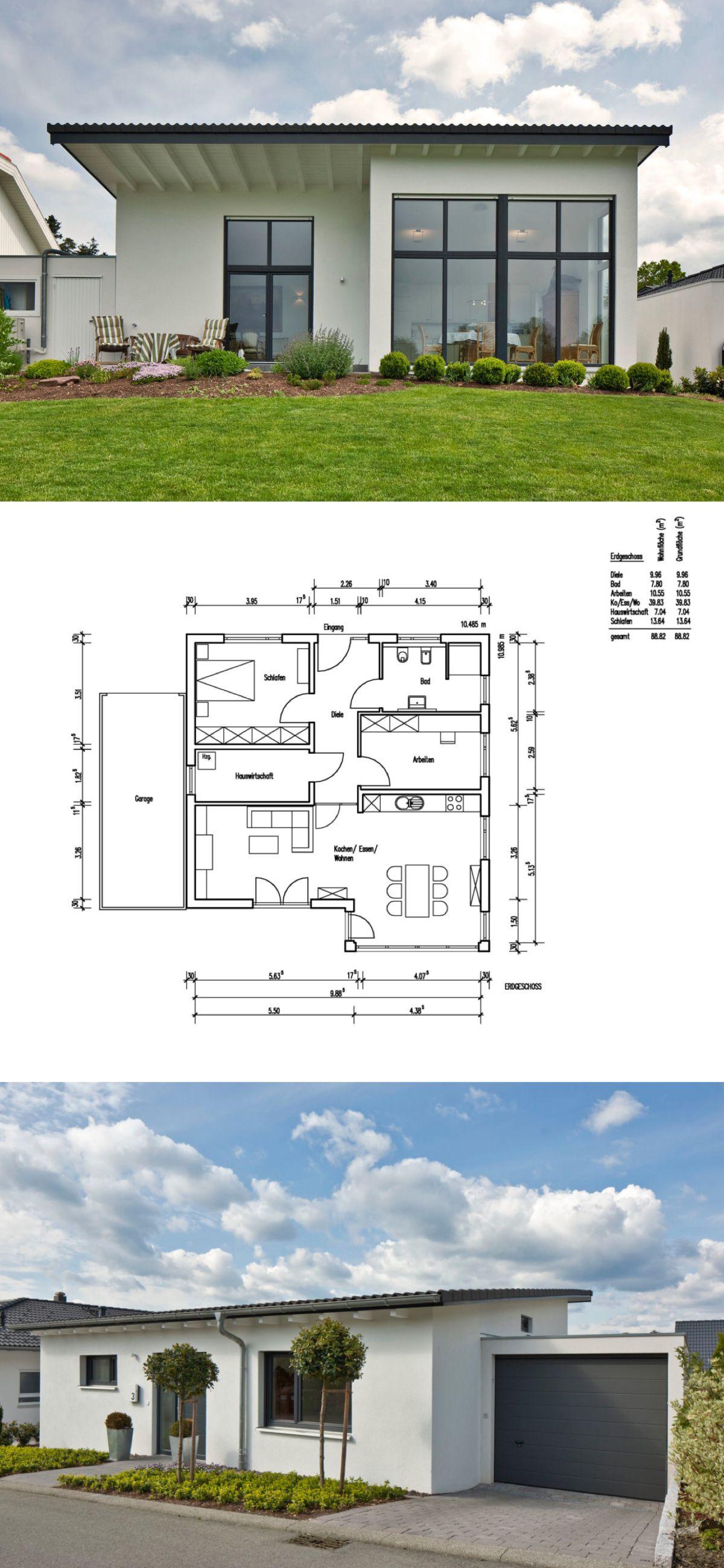 bungalow haus grundriss mit garage und pultdach architektur einfamilienhaus bauen massivhaus. Black Bedroom Furniture Sets. Home Design Ideas