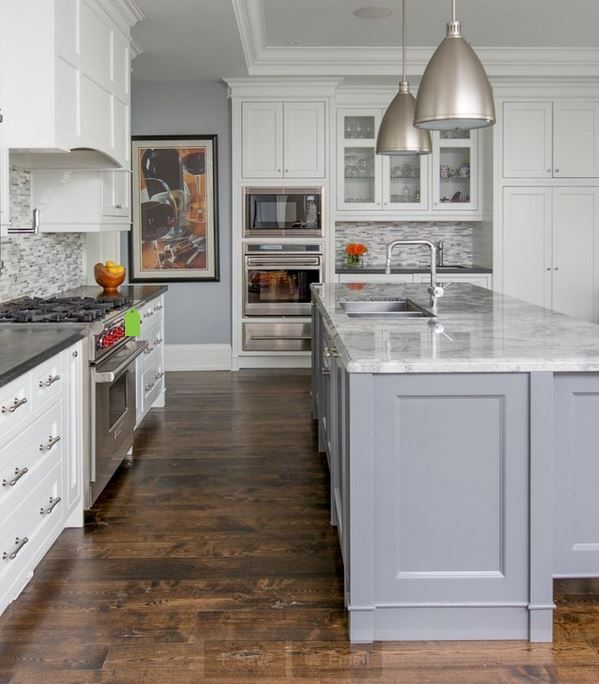 Off White Kitchen Cabinets With Light Floors: It's A Reclaimed Hickory Floor And The Finish Is Duraseal