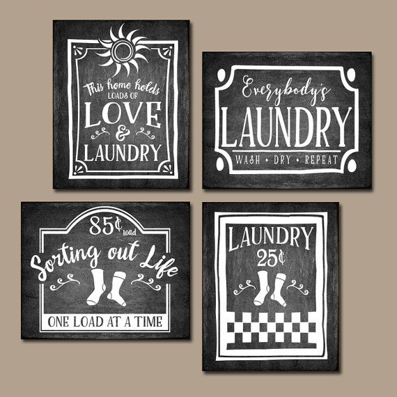 Laundry Wall Decor laundry wall art, chalkboard quotes, antique signs, farmhouse