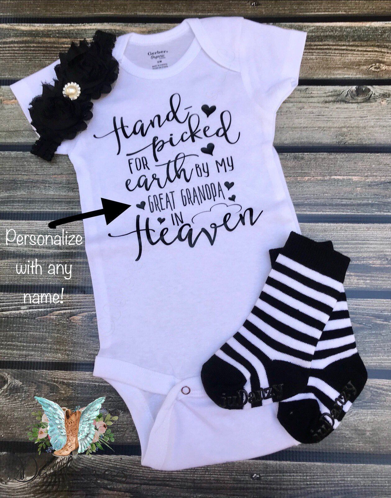 Personalized Hand Picked For Earth Onesie Baby Bodysuit Custom Name Baby Boy Outfit Baby Announcement Onesie Grandpa Baby Girl Outfit