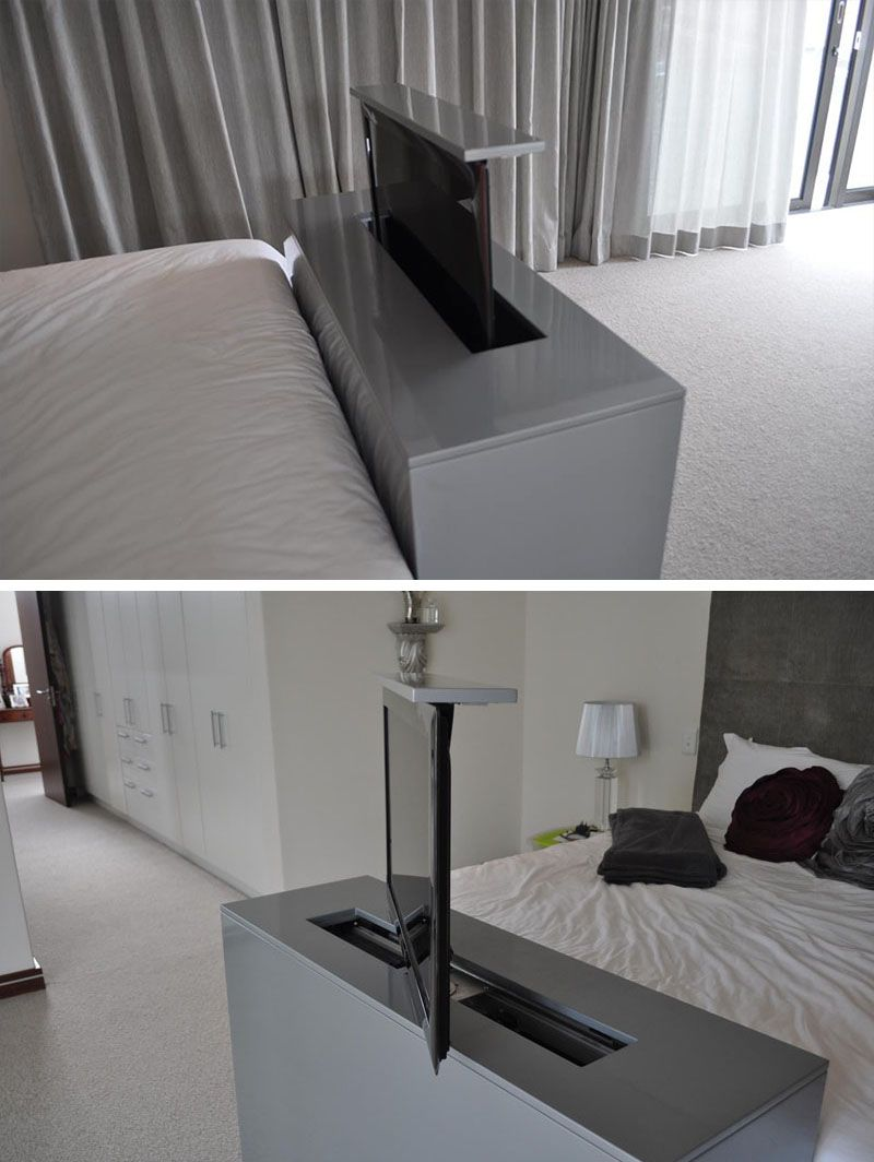 7 ideas for hiding a tv in a bedroom the tv built into the foot of this bed rises up and swivels to allow for bed viewing as well as viewing - Tv In Bedroom