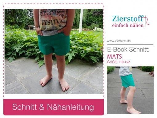 """Mats # Gr 110-152 # E-Book & Schnitt für eine kurze Hose, Short """"MATS"""", Gr. 110-152"""
