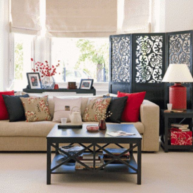 Asian Style Living Room! Love These Colors!