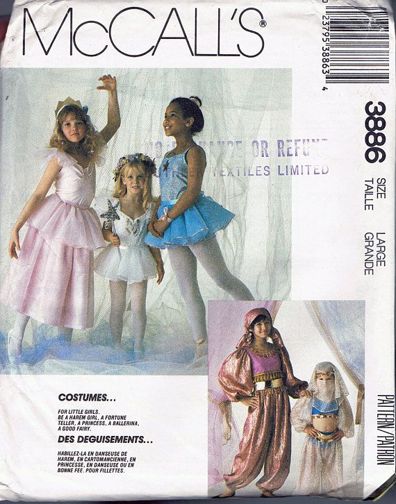 Size 10-12 Girls\' Costume Sewing Pattern - Belly Dancer Costume ...