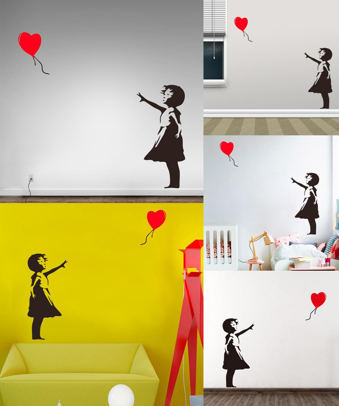 Visit to Buy] Banksy Vinyl Wall Sticker Home Decor Girl with Heart ...