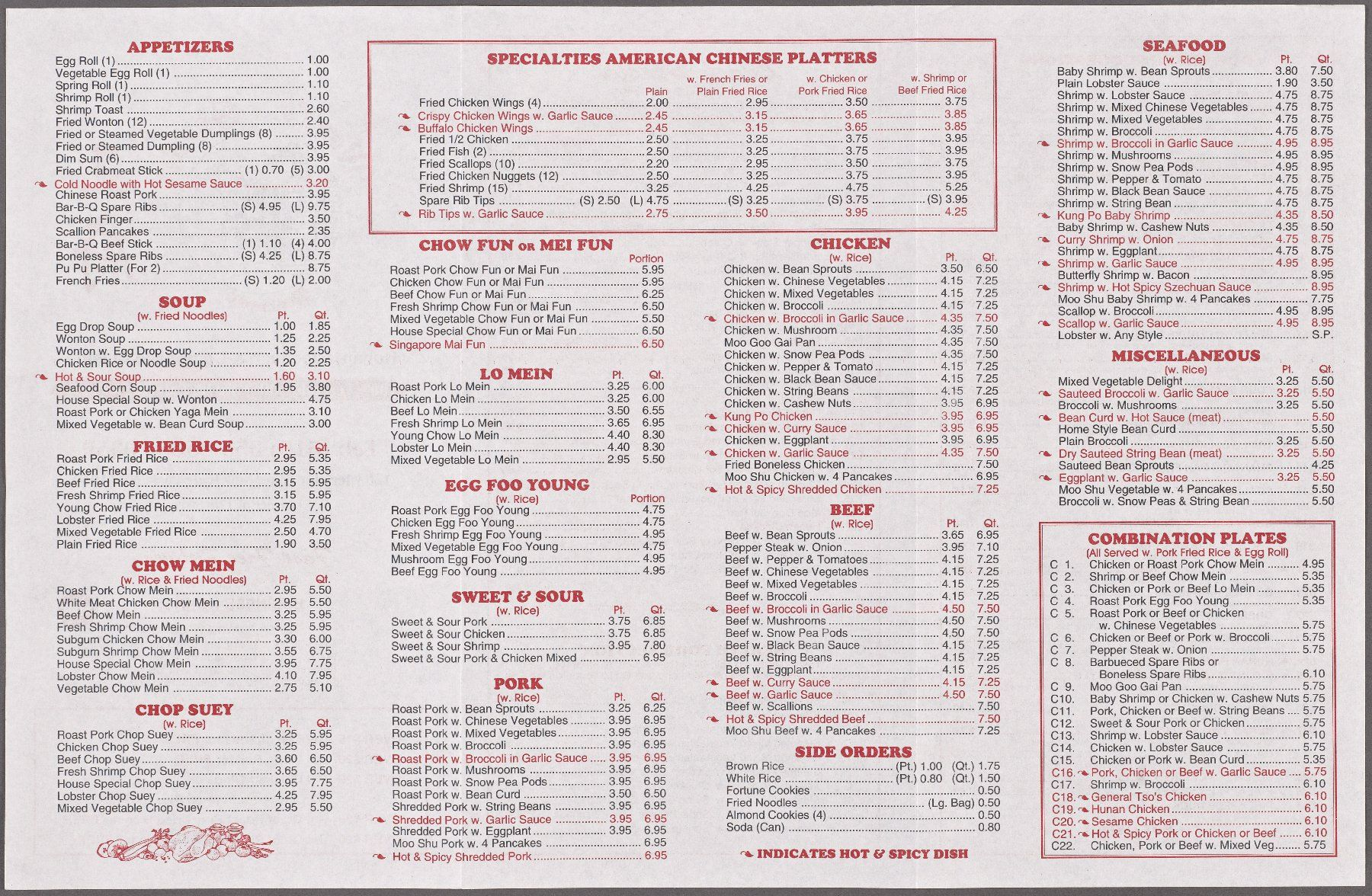 Wong S Garden Specialties American Chinese Platters Chinese