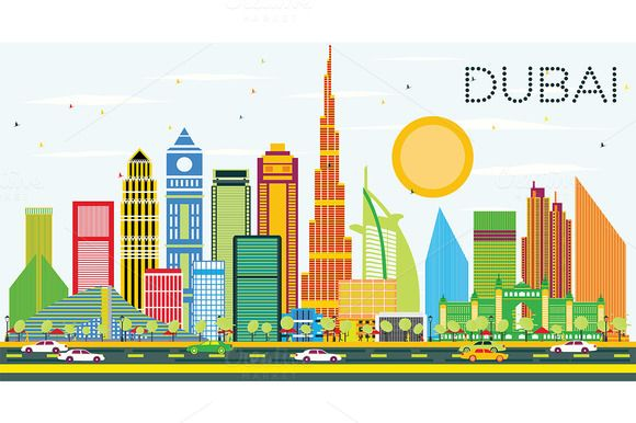 Dubai Skyline With Color Buildings Skyline Drawing Dubai City Sketch