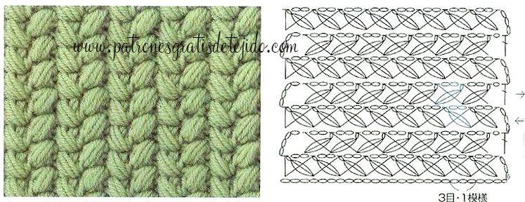 Patrón punto puff cruzado   Crochet y Dos Agujas   Pinterest ...