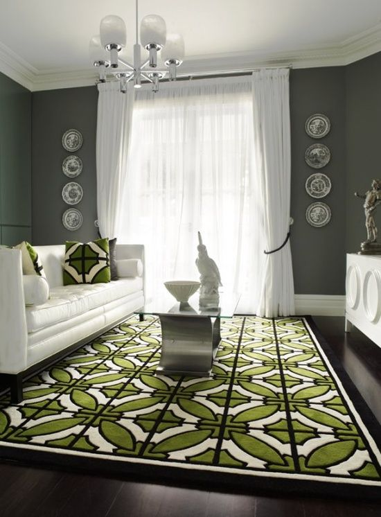 White Furniture Gray Walls Geometric Green